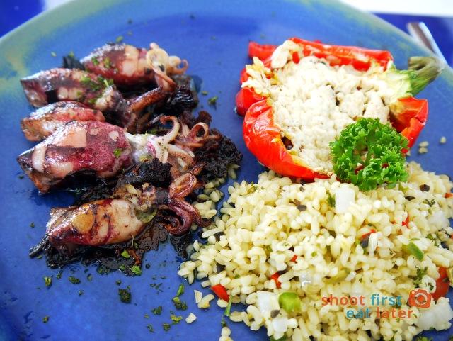 Balesin Island Club - Mykonos Village's Taverna Thanassis restaurant- stuffed squid