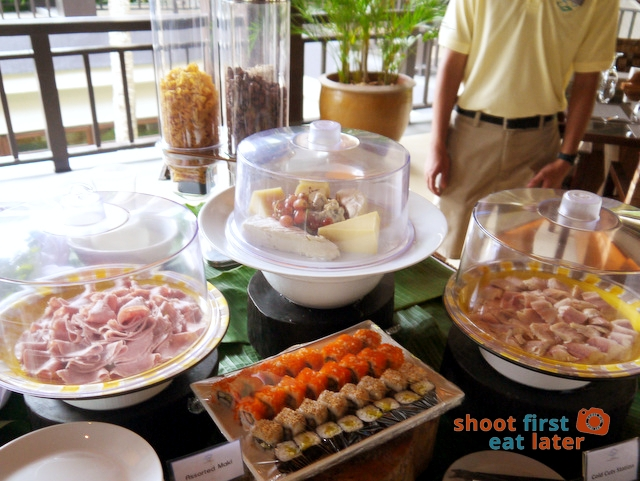 breakfast buffet at Balesin clubhouse-cold cuts, cheese and sushi