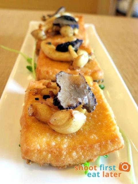 Hainan Shaoye - Homemade egg tofu topped with black truffle & bai ling mushroom HK$98