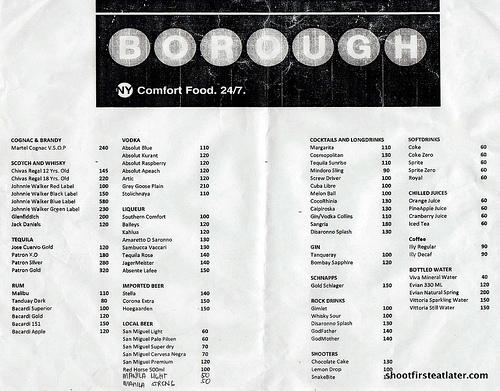 Borough Drinks menu