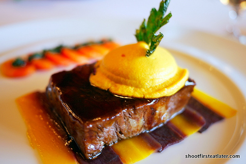 Braised wagyu beef shoulder & young carrot panache in red wine sauce