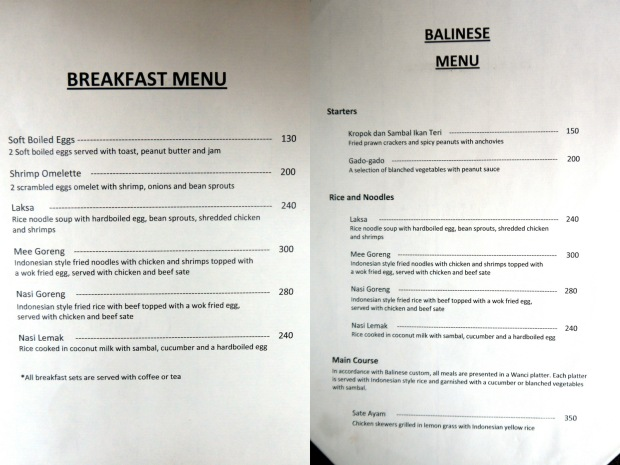 Balesin Island Club - Bali Village-menu