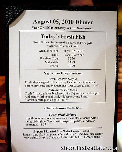 Red Lobster's dinner menu