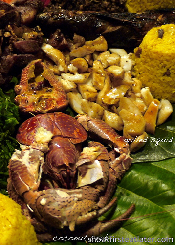 Pension Ivatan platter- coconut crab & squid