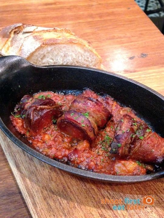 Wildflour Cafe Podium -016 bacon wrapped chorizo, dates in spicy tomato sauce P275