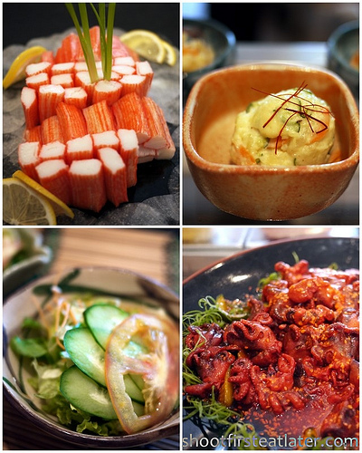 kani, potato salad, chuka idako