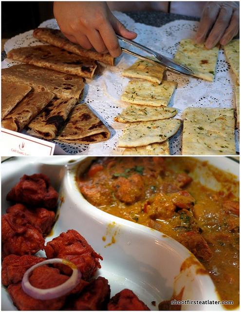 roti, naan, fish amitsari, chicken tikka masala