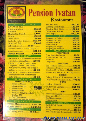 Pension Ivatan menu