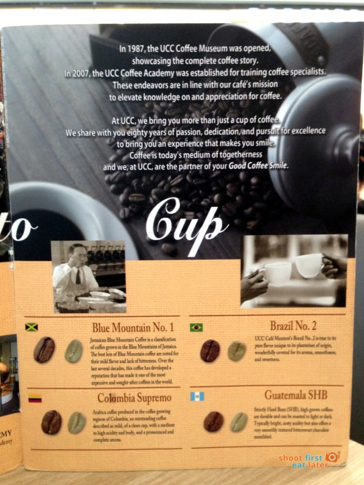Mentoré Coffee + Bar by UCC coffee menu