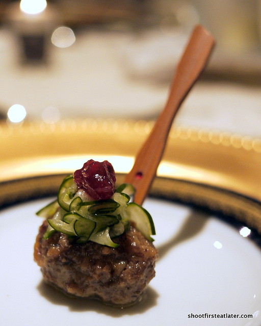 Swedish meatball w/ pickled cucumber & lingonberry preserves