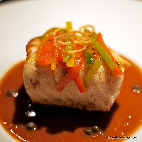 cod fillet w/ eggplant & aromatic verjus