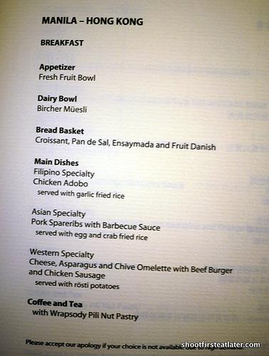 Mnl-Hkg breakfast menu