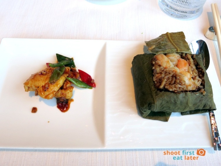 Tin Lung Heen - Wok-Fried Chicken with Black Bean Sauce, Fried Rice with Diced Abalone & Shrimp wrapped in Lotus Leaf