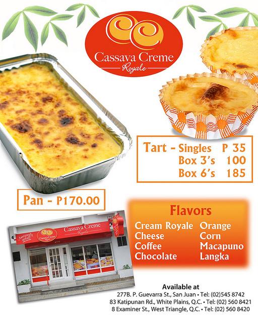 Cassava Creme Royale Menu