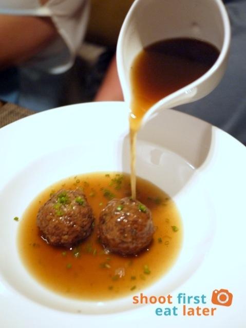 beef broth, fried liver dumplings