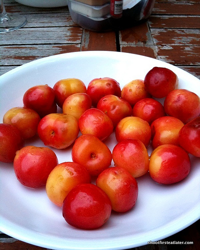 yellow Rainier cherries
