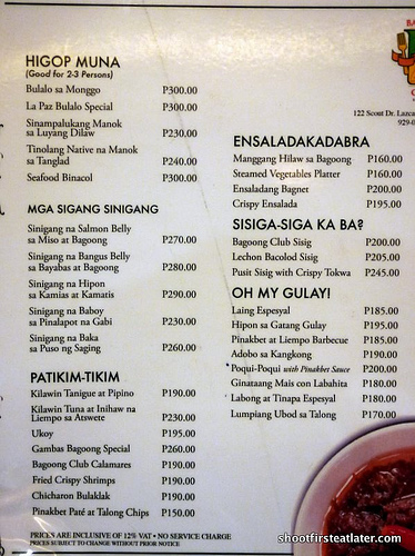 Bagoong Club menu