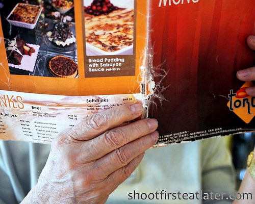 Torch's battered menus