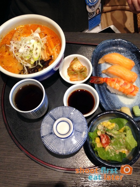 Hokkaido Ramen Santouka- kara-miso ramen, sushi set