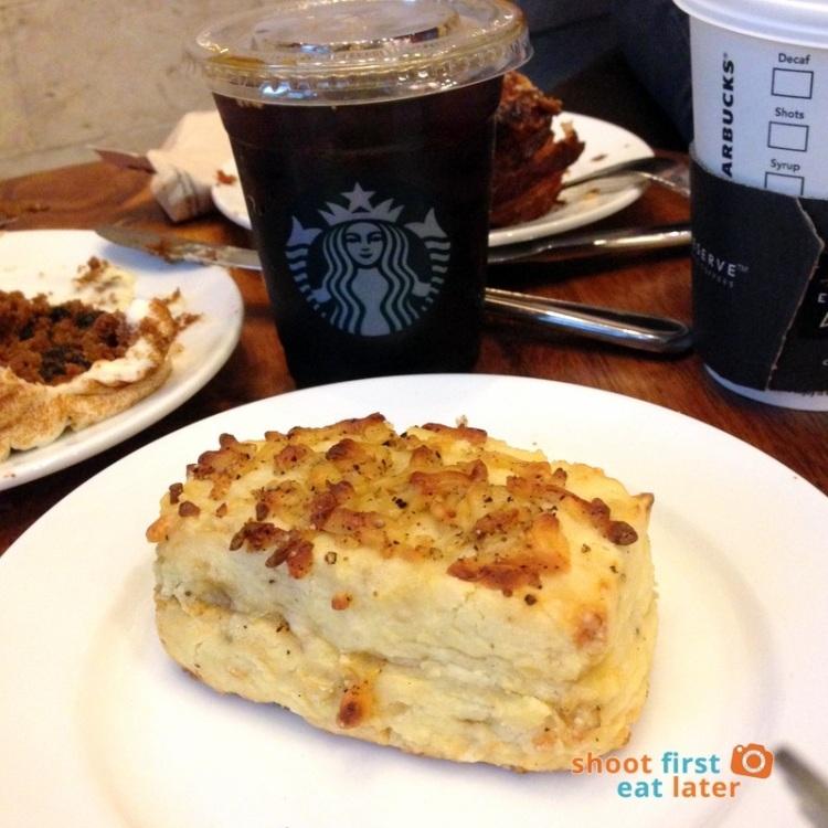 Starbucks Reserve Manila- Iced Ethiopian Yirgachaffe P150, Black Pepper Cheese Scone P90