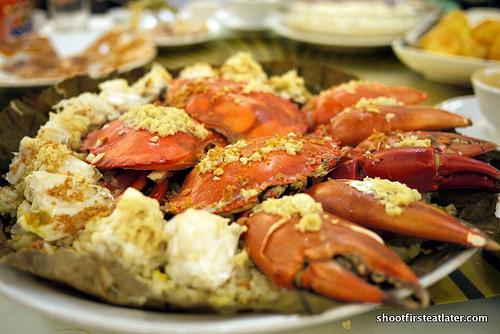 lotus seafood rice w/ garlic crabs