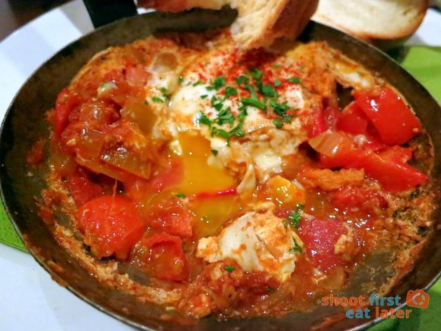 shakshouka with chorizo & fried eggs
