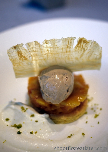 Tosca at the Ritz-Carlton Hong Kong- Caramel & Pineapple Tart with Hazelnut Gelato