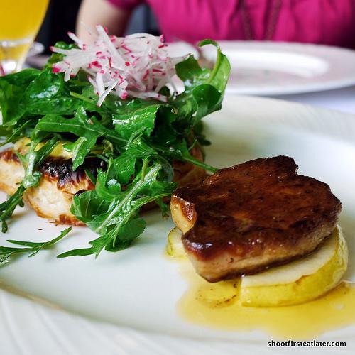quattro formaggi tart, roquette salad, apple mustard vinaigrette w/ pan seared foie gras