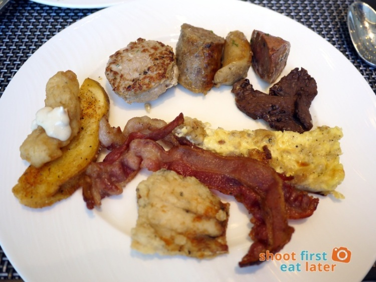 Marco Polo Hotel Ortigas Cucina Restuarant Buffet- fish & chip, bacon, bangus, quiche, beef tapa, 3 kinds of sausage, pork sausage patty