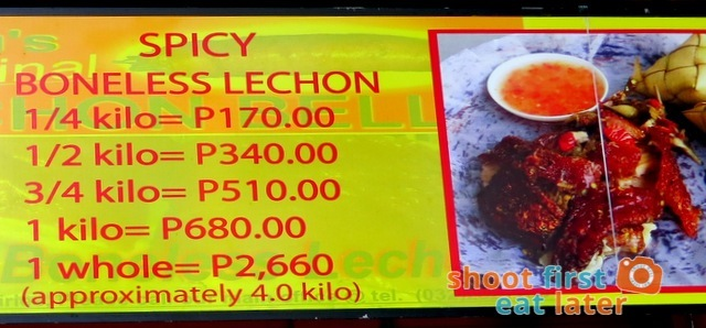 Cebu's Original Lechon Belly at Mall of Asia price list
