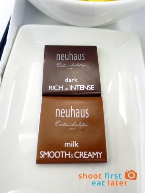 Philippine Airlines business class breakfast - Neuhas chocolates