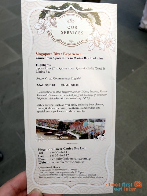 Singapore River Cruise price list