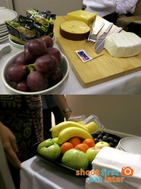 trolley with cheese & fruit