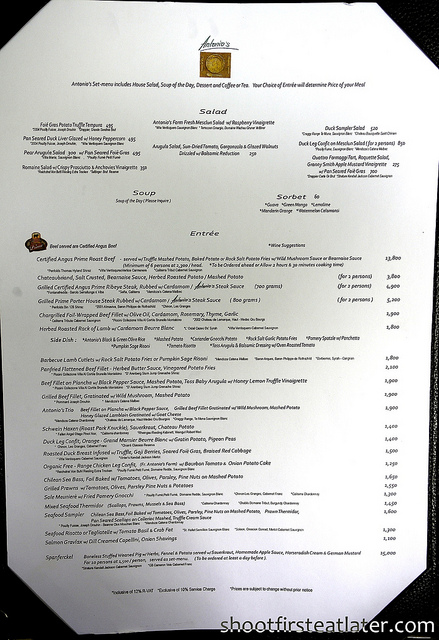 Antonio's Tagaytay March 2011 menu