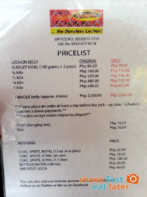 Cebu's Original Lechon Belly at Mall of Asia - menu