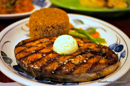 grilled tanigue steak w/ herbed butter