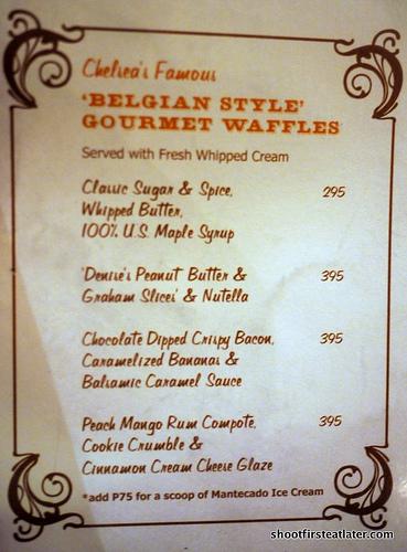 Chelsea belgian waffles menu