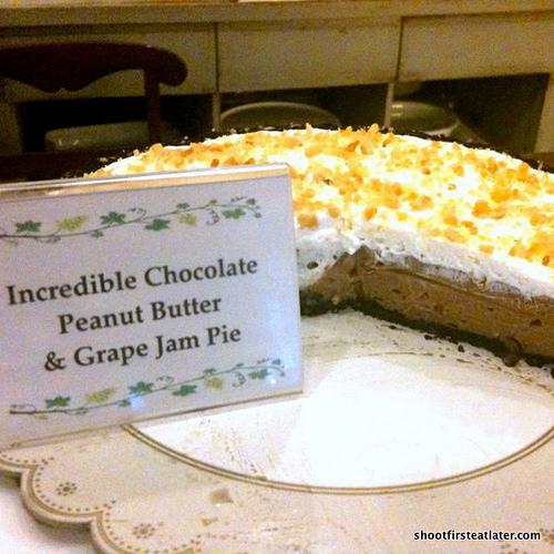 incredible chocolate peanut butter & grape jam pie