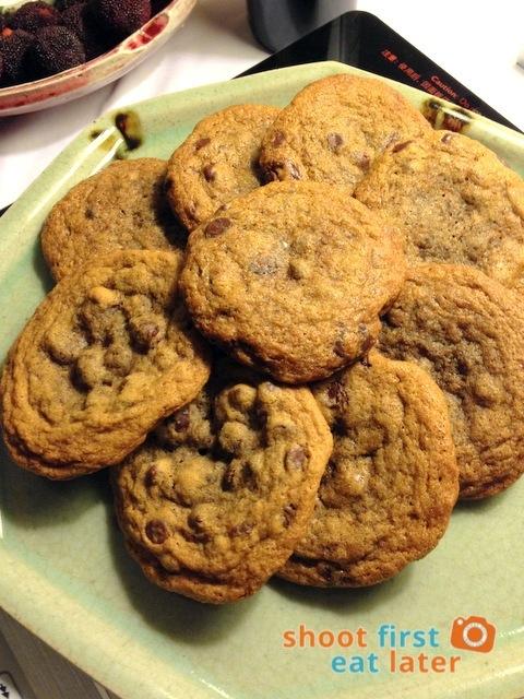 Ghirardelli choco chip cookies with pink Himalayan sea salt