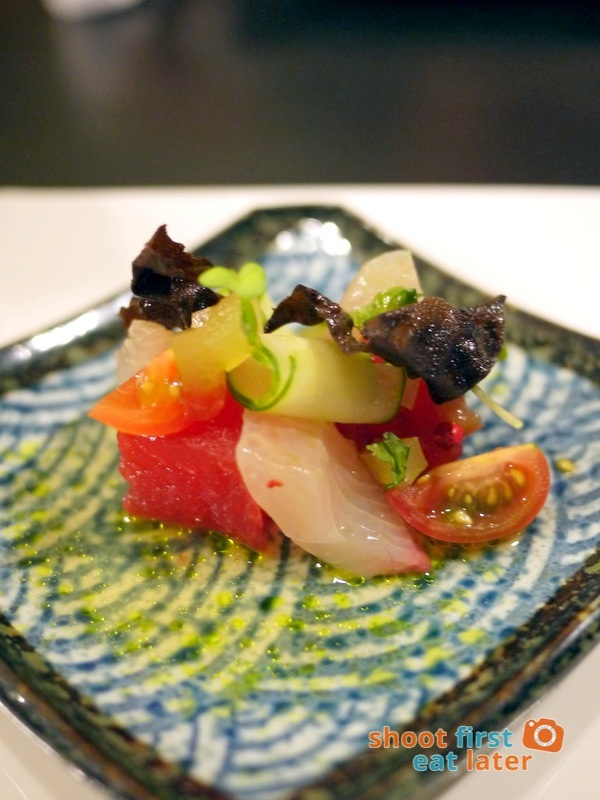 Sensei Sushi Bar - Kampachi, Watermelon, Tomatoes &fried Danish seaweed
