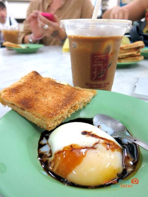 iced coffee, kaya toast & soft boiled egg