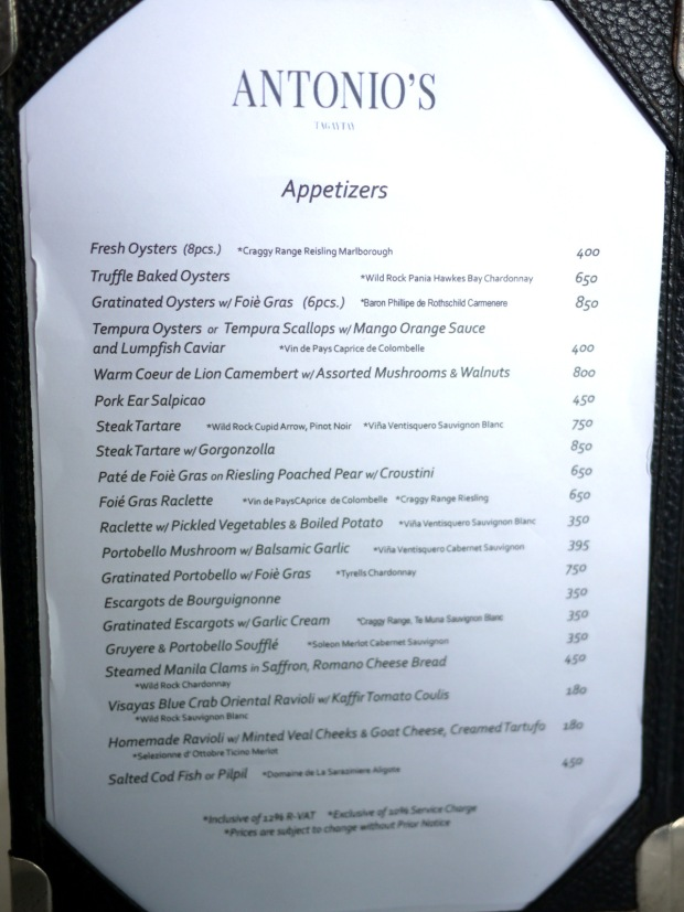 Antonio's Menu Feb 2014