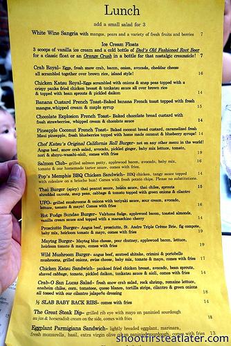 26 Beach lunch menu