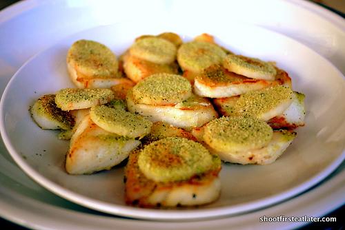 pan-fried seabass w/ herb crust, roasted celery root