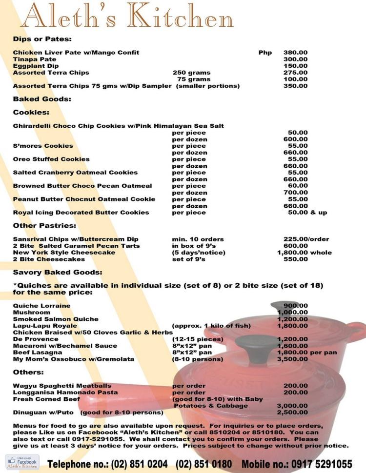 Aleth's Kitchen menu