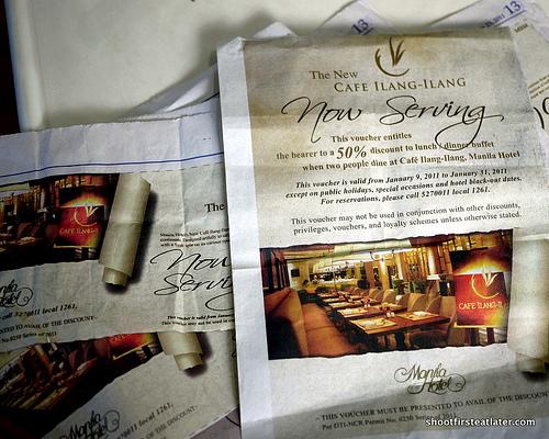 Cafe Ilang-Ilang newspaper coupons