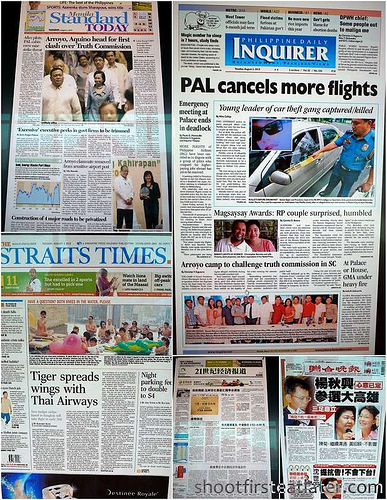 front pages for the day