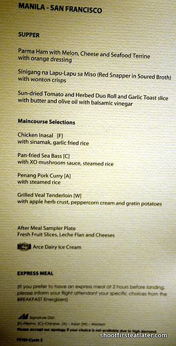 Pal inflight menu
