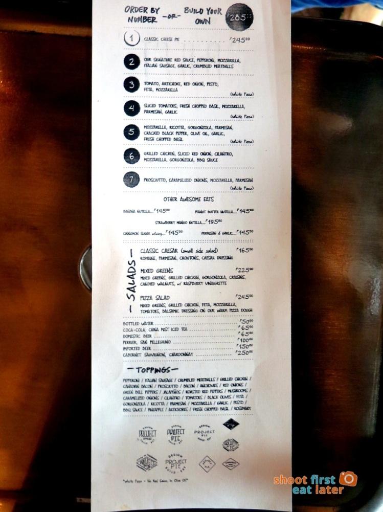 Project Pie Philippines menu