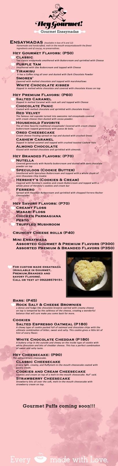 Hey Gourmet! Gourmet Ensaymadas menu